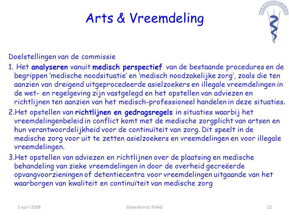 Arts & Vreemdeling Doelstellingen van de commissie