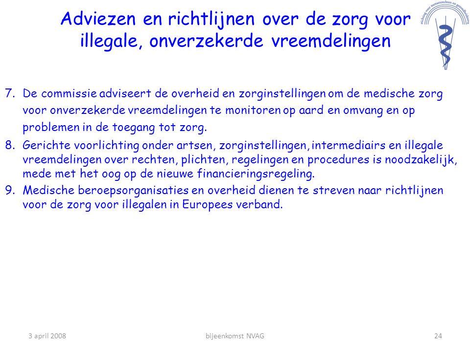 Adviezen en richtlijnen over de zorg voor illegale, onverzekerde vreemdelingen