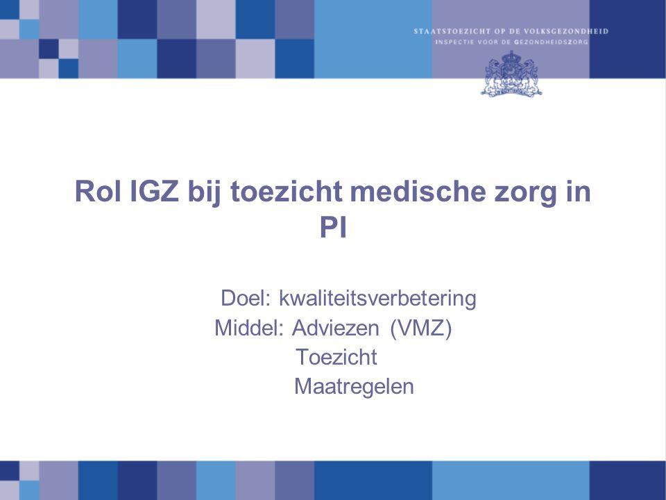 Rol IGZ bij toezicht medische zorg in PI
