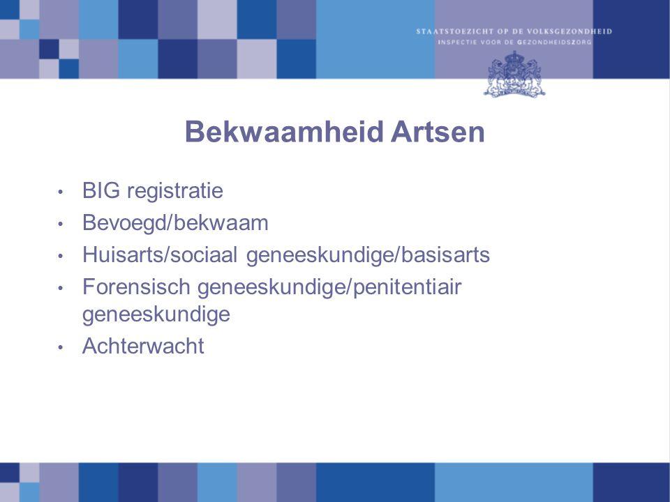Bekwaamheid Artsen BIG registratie Bevoegd/bekwaam