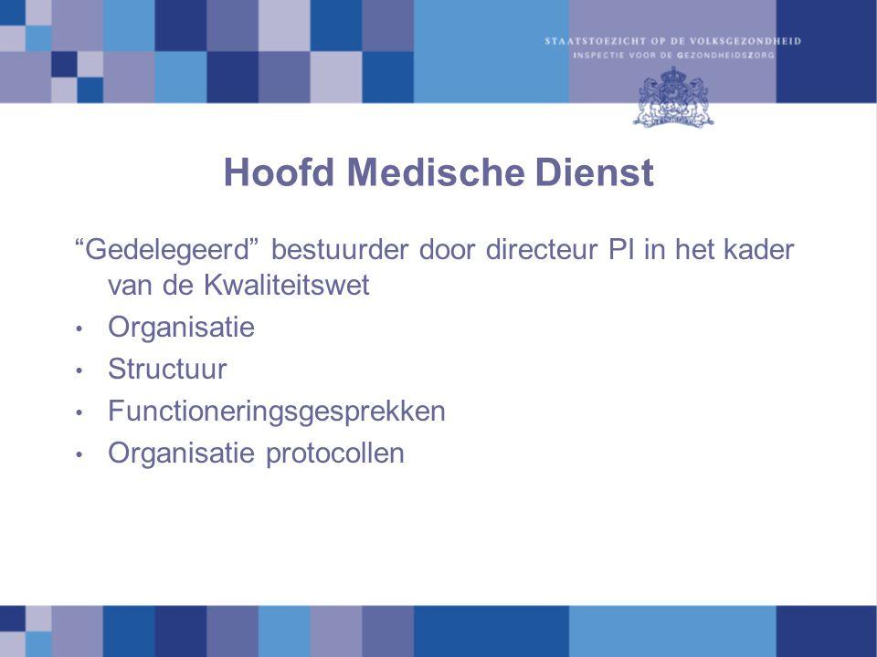 Hoofd Medische Dienst Gedelegeerd bestuurder door directeur PI in het kader van de Kwaliteitswet.