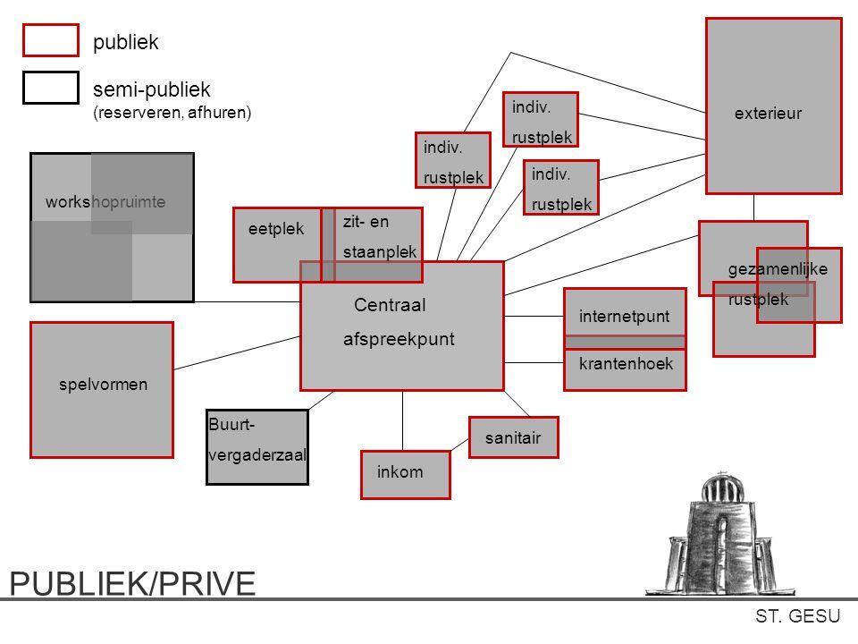 PUBLIEK/PRIVE publiek semi-publiek (reserveren, afhuren) Centraal
