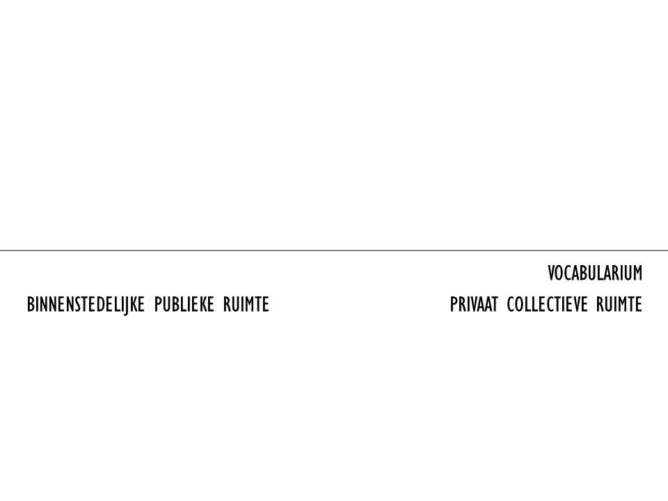 VOCABULARIUM BINNENSTEDELIJKE PUBLIEKE RUIMTE PRIVAAT COLLECTIEVE RUIMTE