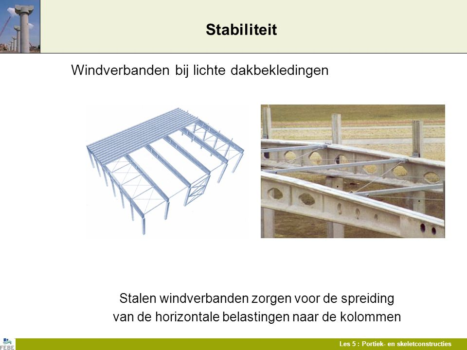Stabiliteit Windverbanden bij lichte dakbekledingen