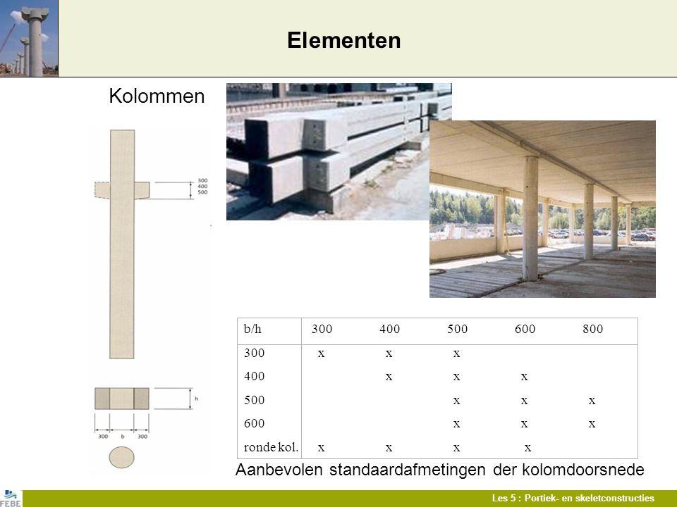 Aanbevolen standaardafmetingen der kolomdoorsnede
