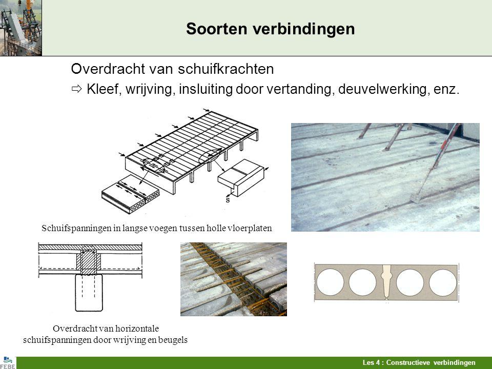 Overdracht van horizontale schuifspanningen door wrijving en beugels