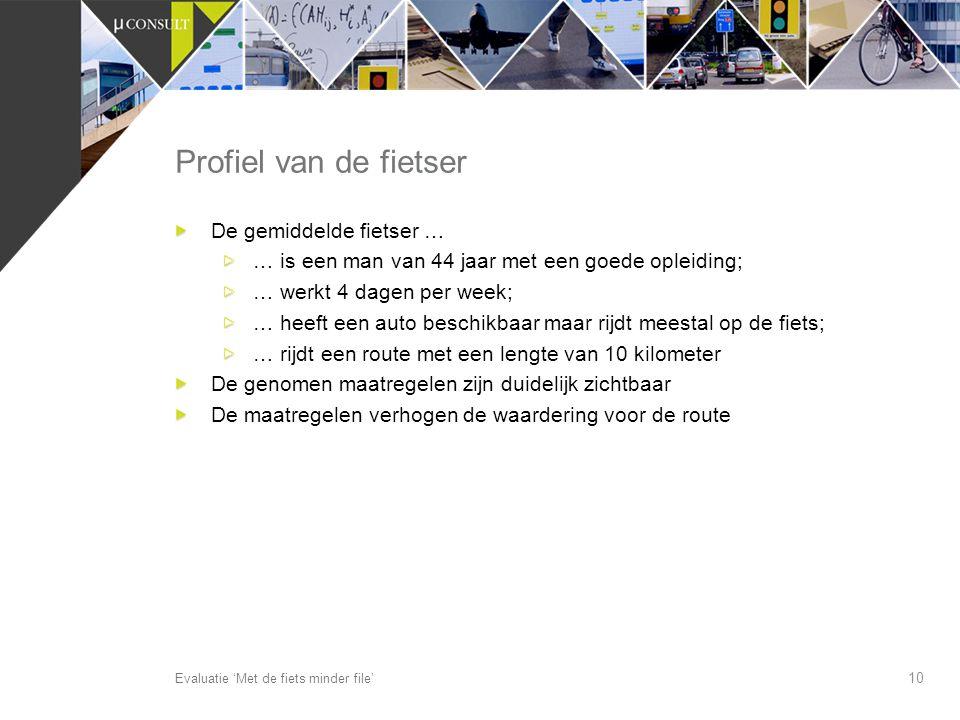 Profiel van de fietser De gemiddelde fietser …