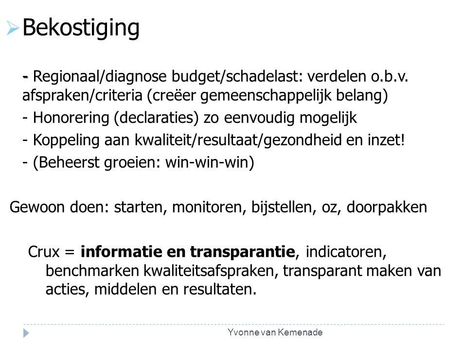 Bekostiging - Regionaal/diagnose budget/schadelast: verdelen o.b.v. afspraken/criteria (creëer gemeenschappelijk belang)