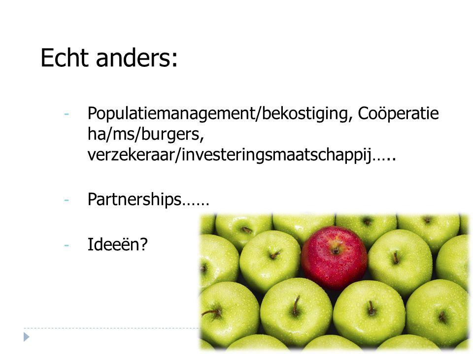 Echt anders: Populatiemanagement/bekostiging, Coöperatie ha/ms/burgers, verzekeraar/investeringsmaatschappij…..