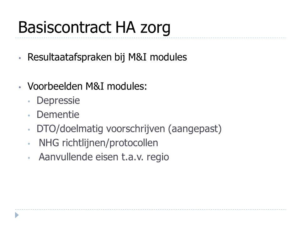 Basiscontract HA zorg Resultaatafspraken bij M&I modules