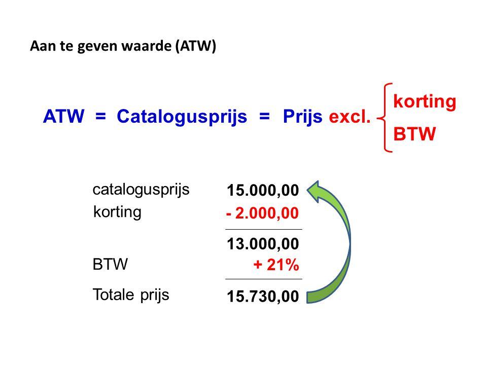 korting ATW = Catalogusprijs = Prijs excl. BTW