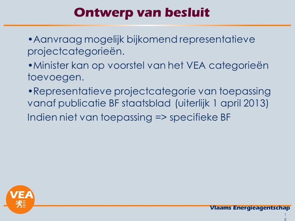 Ontwerp van besluit Aanvraag mogelijk bijkomend representatieve projectcategorieën. Minister kan op voorstel van het VEA categorieën toevoegen.