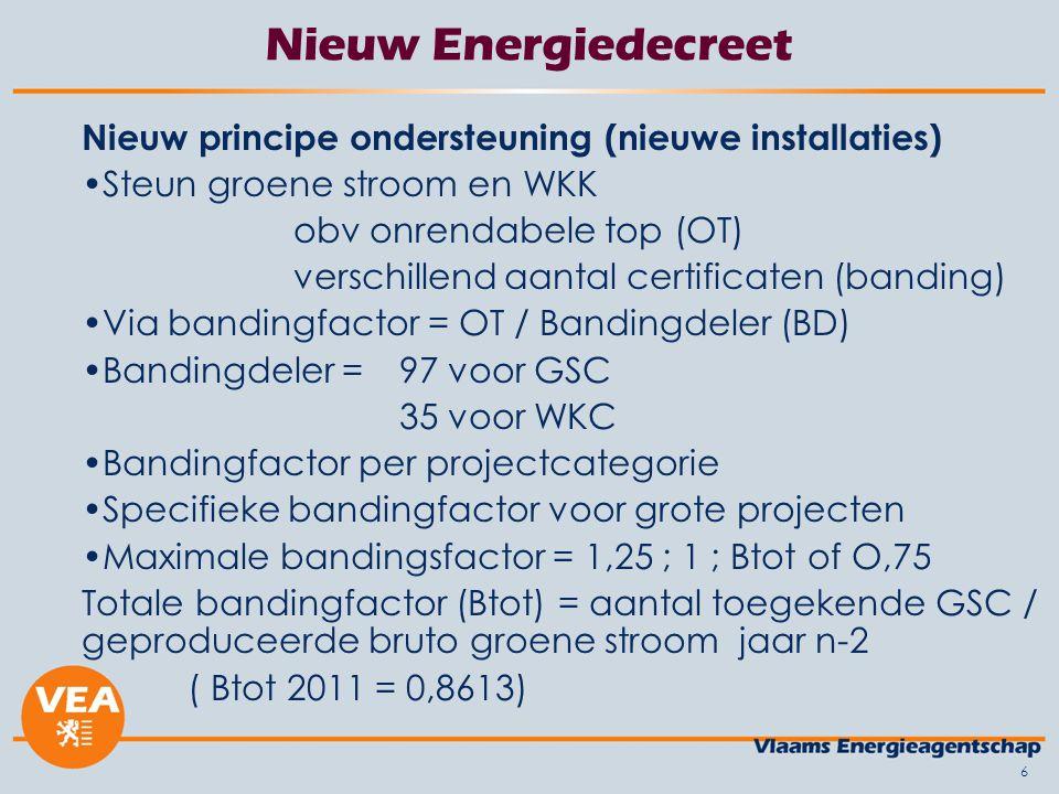 Nieuw Energiedecreet Nieuw principe ondersteuning (nieuwe installaties) Steun groene stroom en WKK.