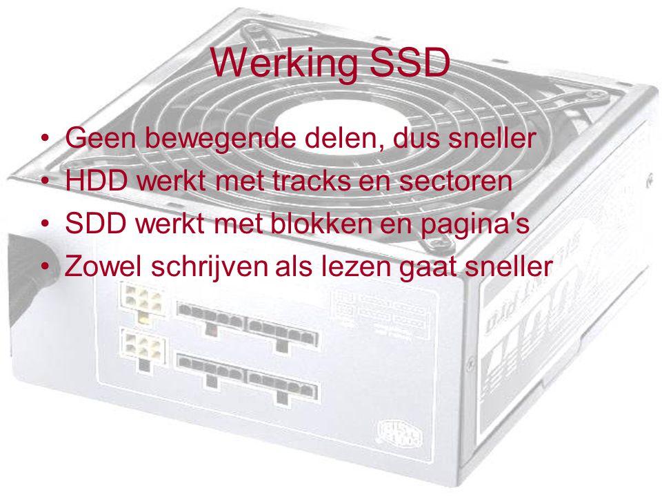 Werking SSD Geen bewegende delen, dus sneller
