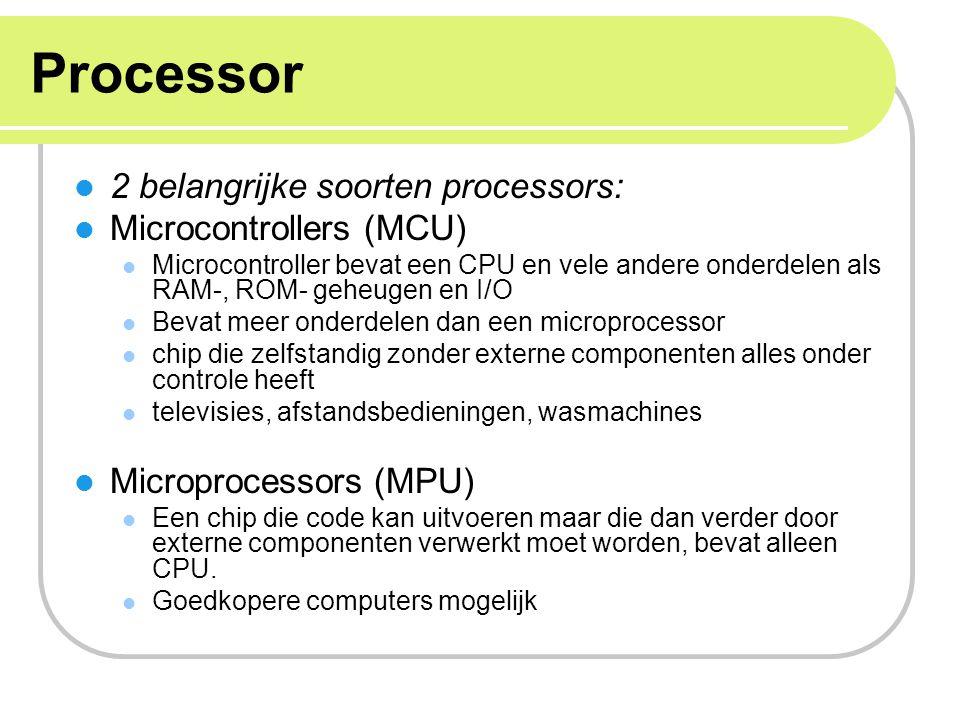 Processor 2 belangrijke soorten processors: Microcontrollers (MCU)