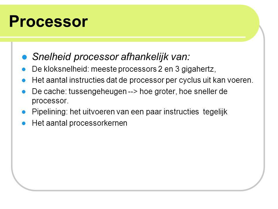 Processor Snelheid processor afhankelijk van: