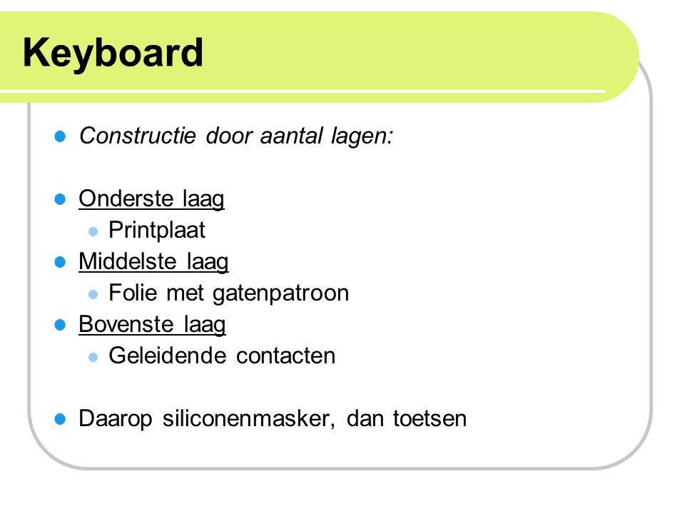 Keyboard Constructie door aantal lagen: Onderste laag Printplaat
