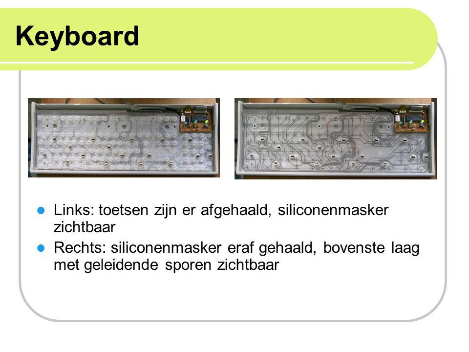 Keyboard Links: toetsen zijn er afgehaald, siliconenmasker zichtbaar