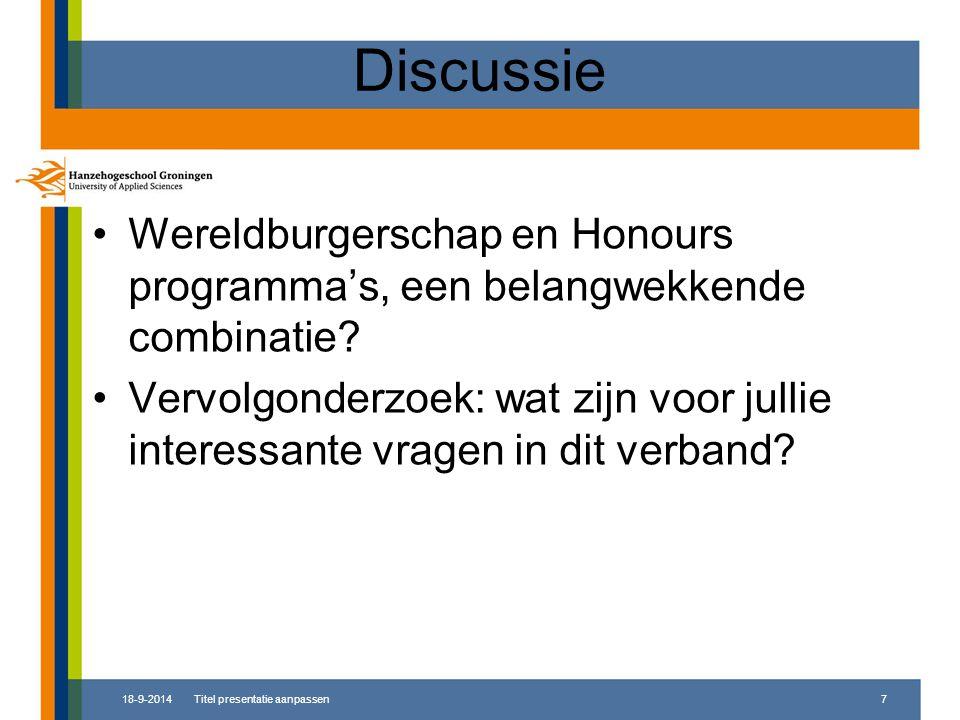 Discussie Wereldburgerschap en Honours programma's, een belangwekkende combinatie