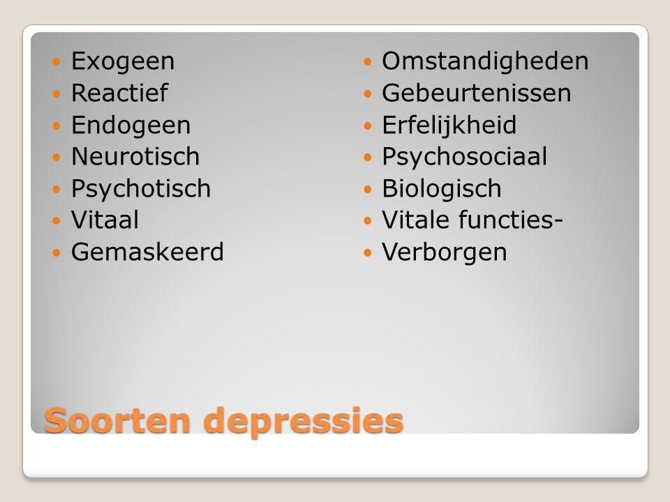 Soorten depressies Exogeen Reactief Endogeen Neurotisch Psychotisch
