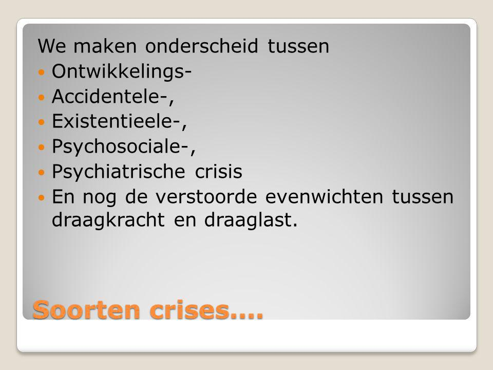 Soorten crises.... We maken onderscheid tussen Ontwikkelings-