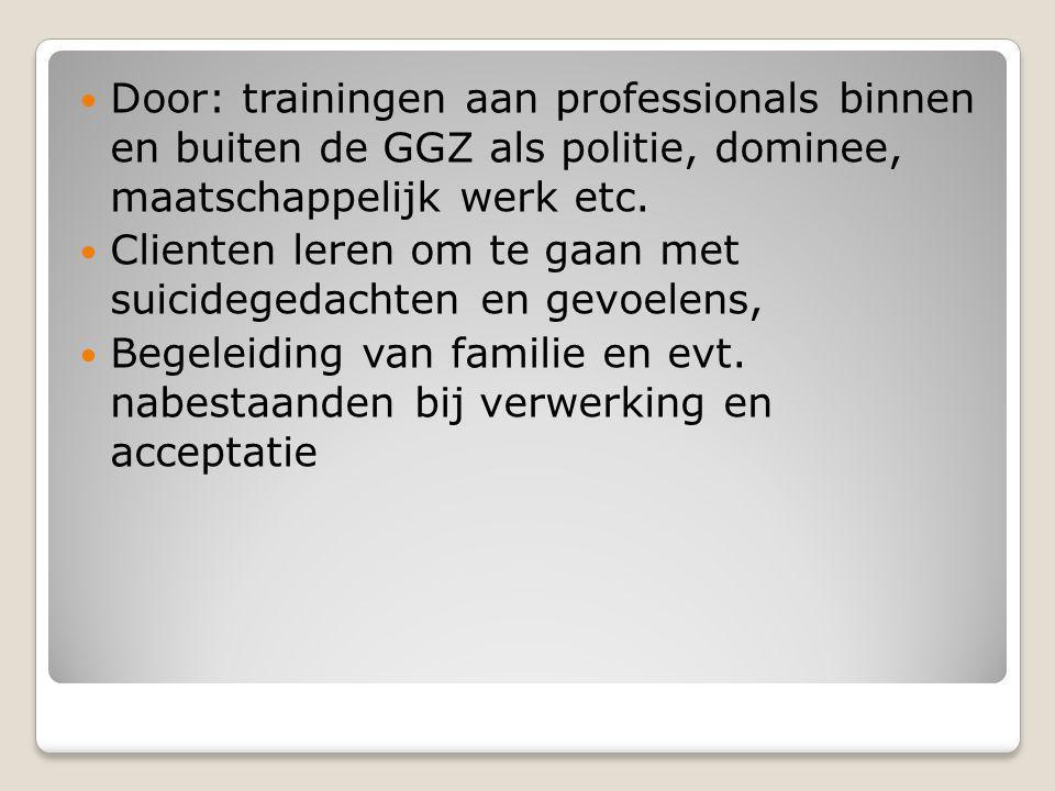Door: trainingen aan professionals binnen en buiten de GGZ als politie, dominee, maatschappelijk werk etc.