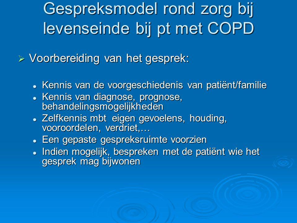 Gespreksmodel rond zorg bij levenseinde bij pt met COPD