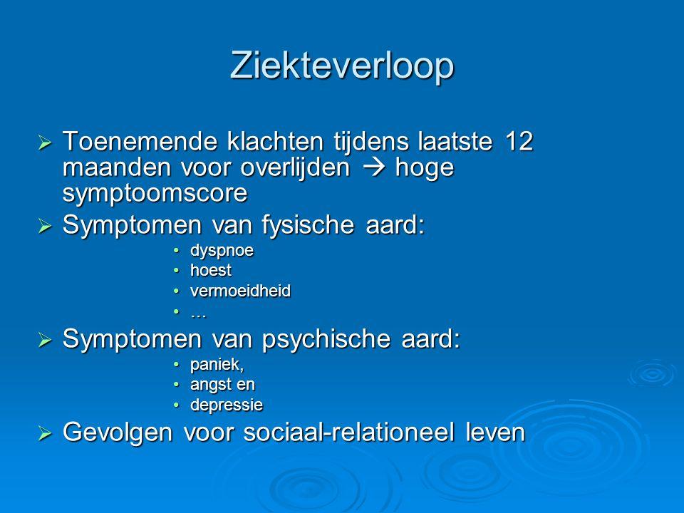 Ziekteverloop Toenemende klachten tijdens laatste 12 maanden voor overlijden  hoge symptoomscore. Symptomen van fysische aard: