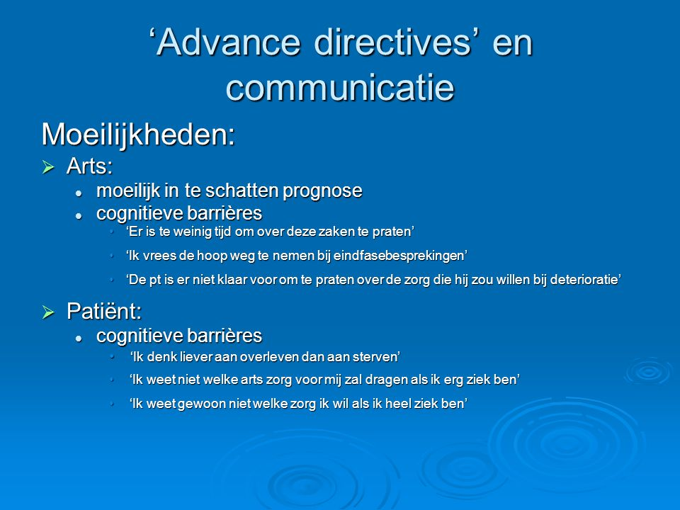 'Advance directives' en communicatie