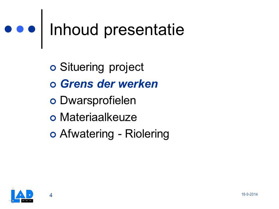 Inhoud presentatie Situering project Grens der werken Dwarsprofielen
