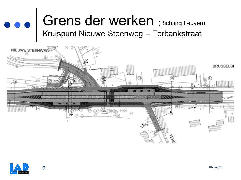 Grens der werken (Richting Leuven) Kruispunt Nieuwe Steenweg – Terbankstraat