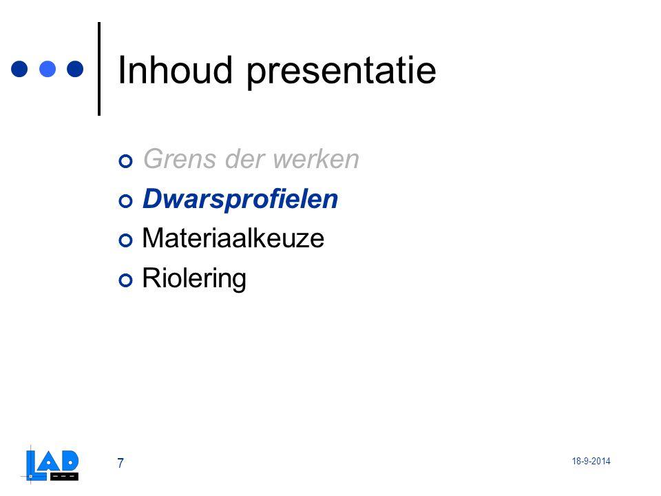 Inhoud presentatie Grens der werken Dwarsprofielen Materiaalkeuze