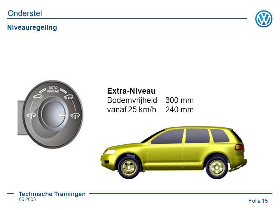 Niveauregeling Extra-Niveau Bodemvrijheid 300 mm vanaf 25 km/h 240 mm