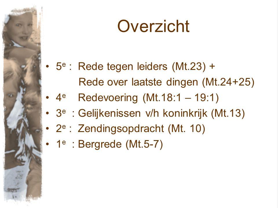 Overzicht 5e : Rede tegen leiders (Mt.23) +