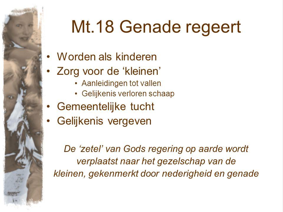 Mt.18 Genade regeert Worden als kinderen Zorg voor de 'kleinen'