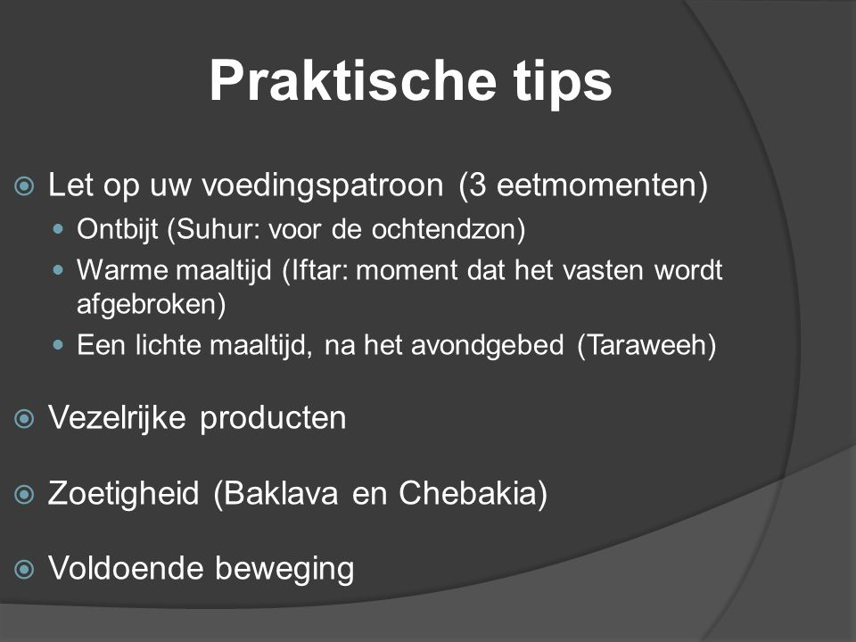 Praktische tips Let op uw voedingspatroon (3 eetmomenten)