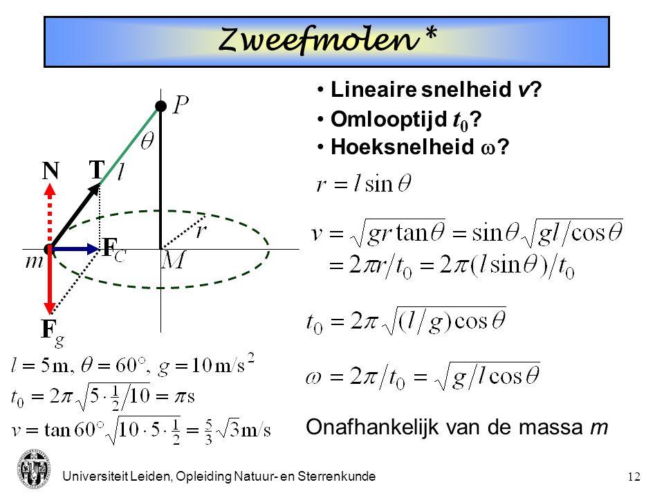 Zweefmolen * Lineaire snelheid v Omlooptijd t0 Hoeksnelheid 