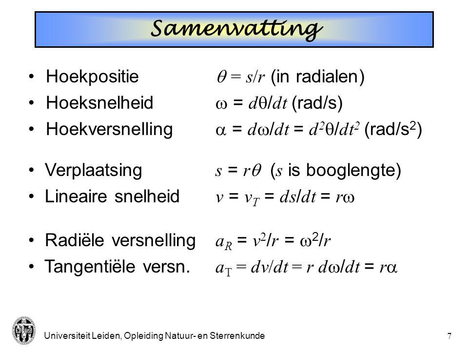 Samenvatting Hoekpositie  = s/r (in radialen)