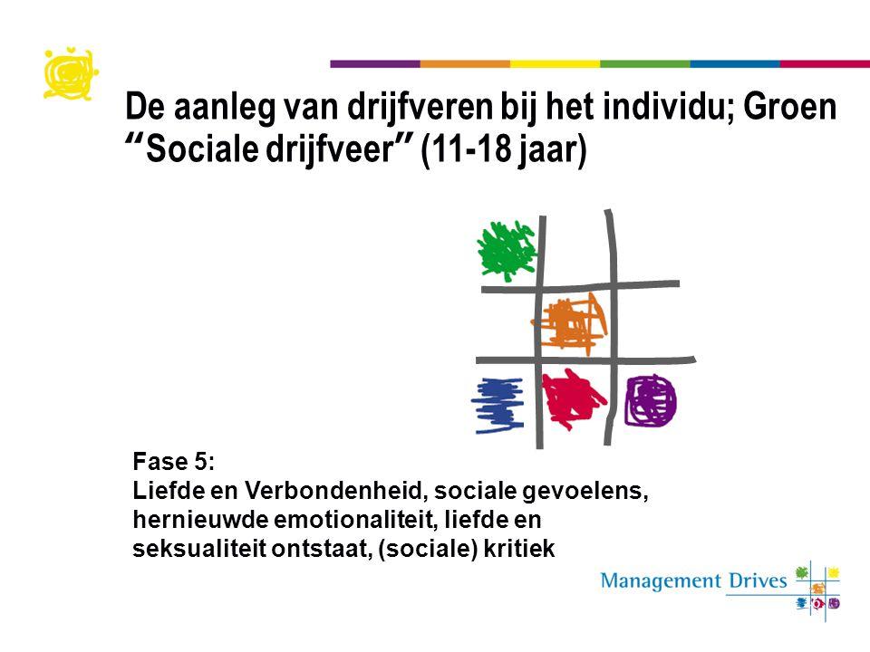 De aanleg van drijfveren bij het individu; Groen Sociale drijfveer (11-18 jaar)