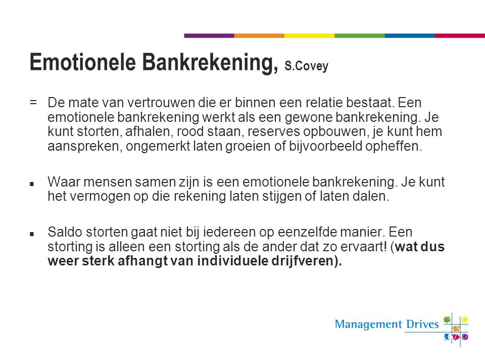 Emotionele Bankrekening, S.Covey