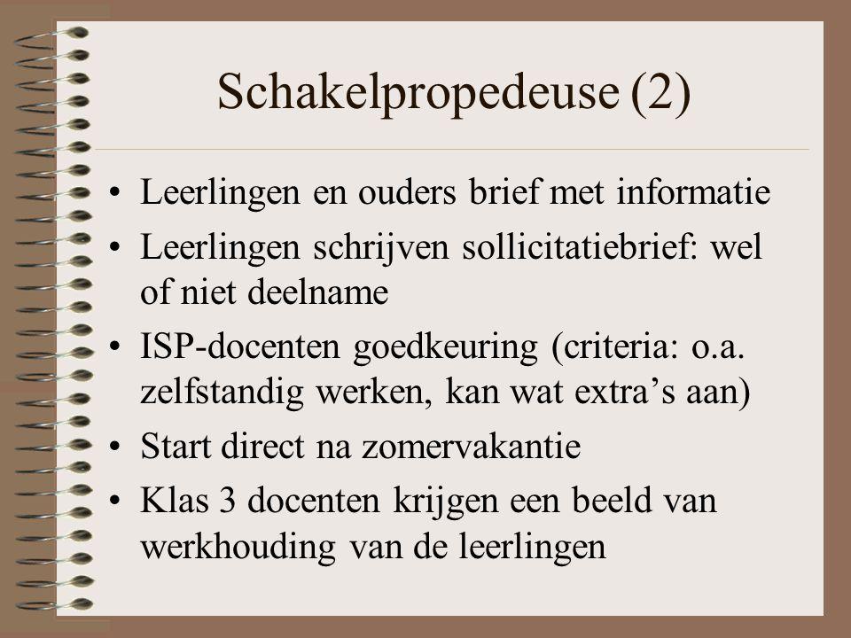 Schakelpropedeuse (2) Leerlingen en ouders brief met informatie