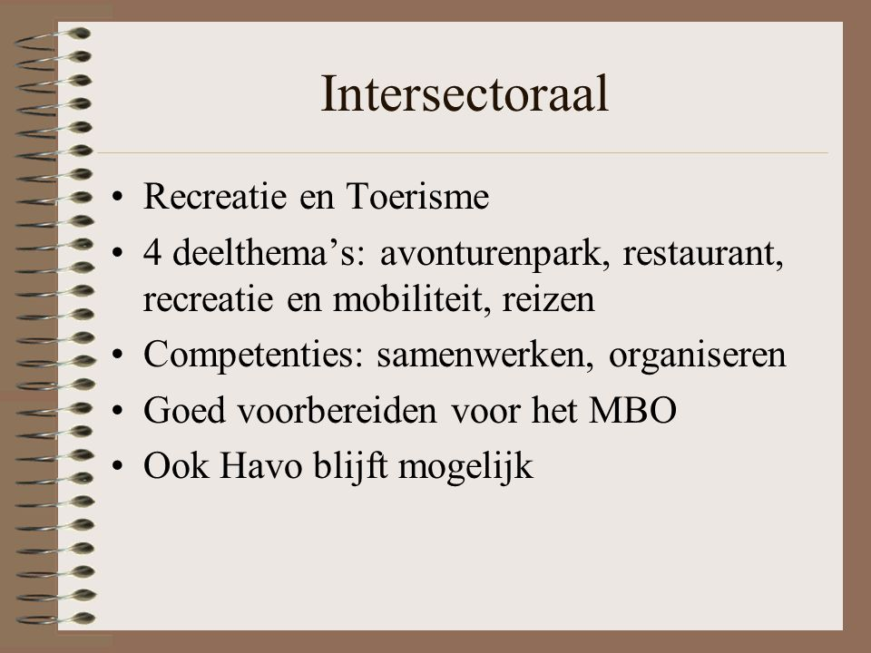Intersectoraal Recreatie en Toerisme