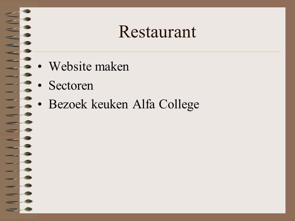 Restaurant Website maken Sectoren Bezoek keuken Alfa College