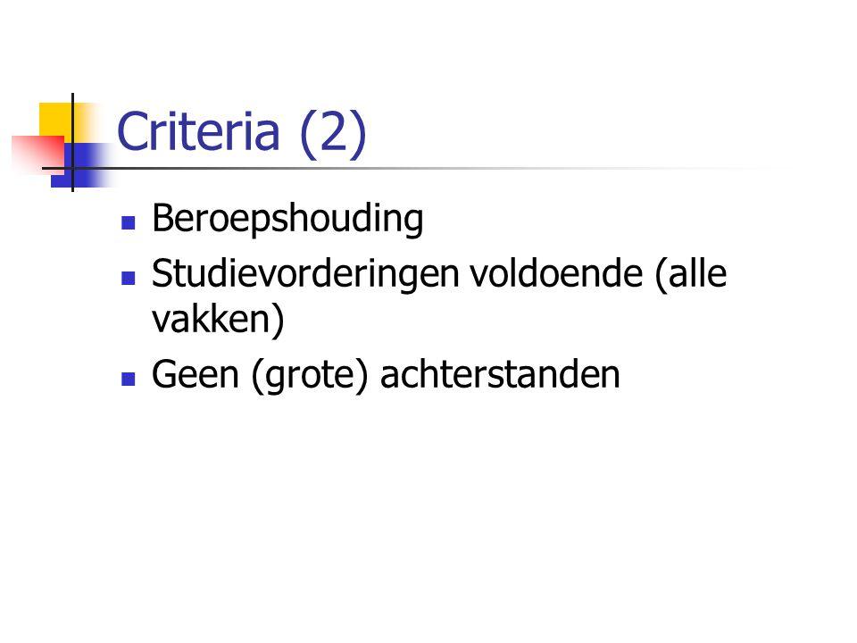 Criteria (2) Beroepshouding Studievorderingen voldoende (alle vakken)