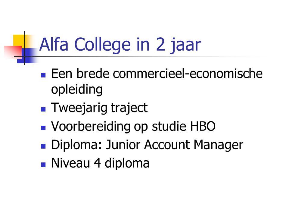 Alfa College in 2 jaar Een brede commercieel-economische opleiding