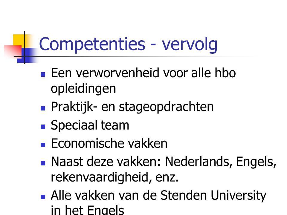Competenties - vervolg