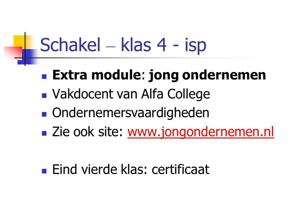 Schakel – klas 4 - isp Extra module: jong ondernemen