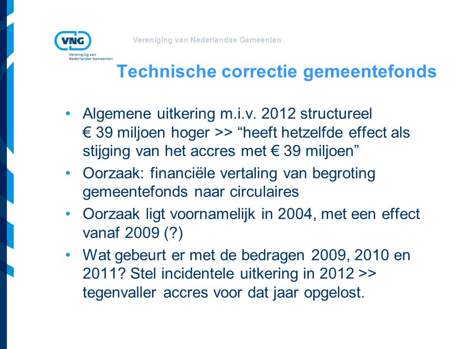 Technische correctie gemeentefonds