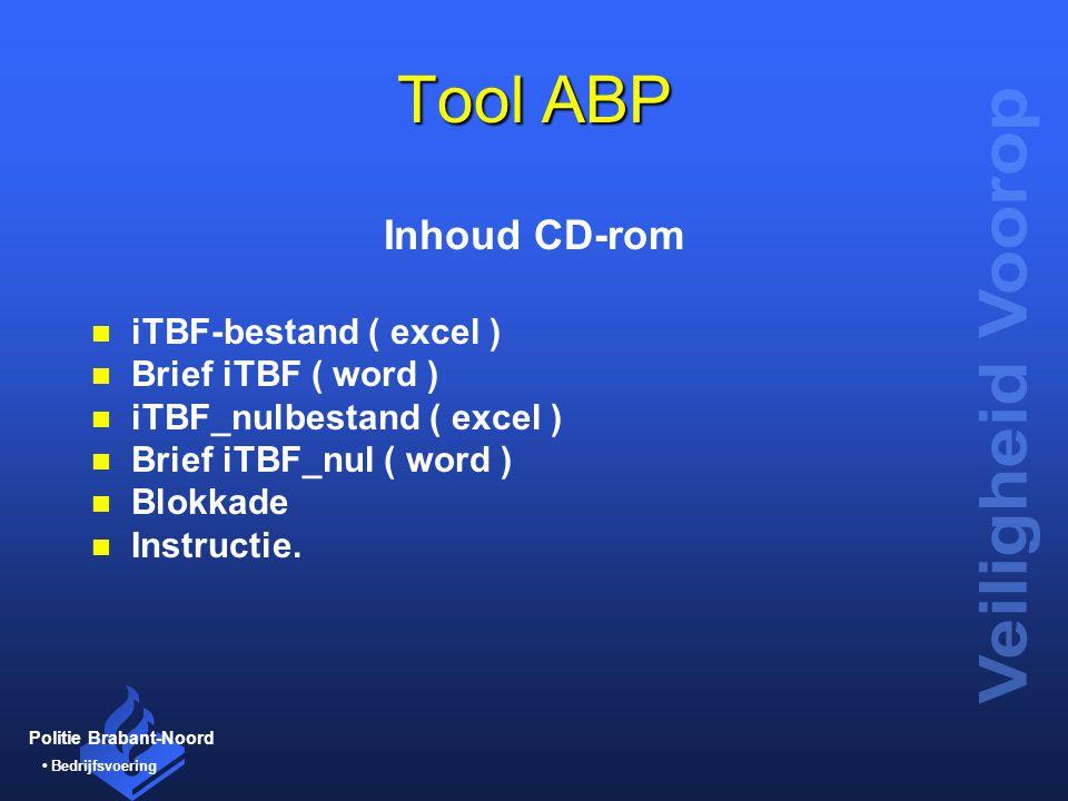 Tool ABP Inhoud CD-rom iTBF-bestand ( excel ) Brief iTBF ( word )