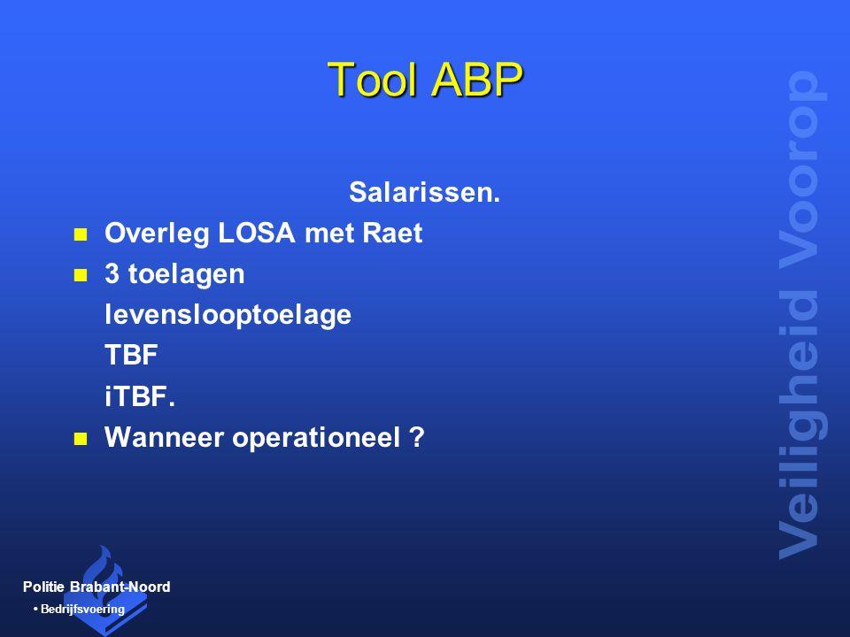 Tool ABP Salarissen. Overleg LOSA met Raet 3 toelagen